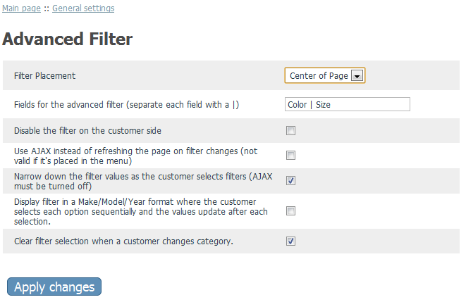 Advanced Filter General Configuration